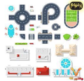 خرید فایل وکتور تصویرسازی نمای بالا از عناصر شهری