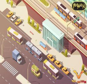 خرید فایل وکتور تصویرسازی نمای شهری سه بعدی