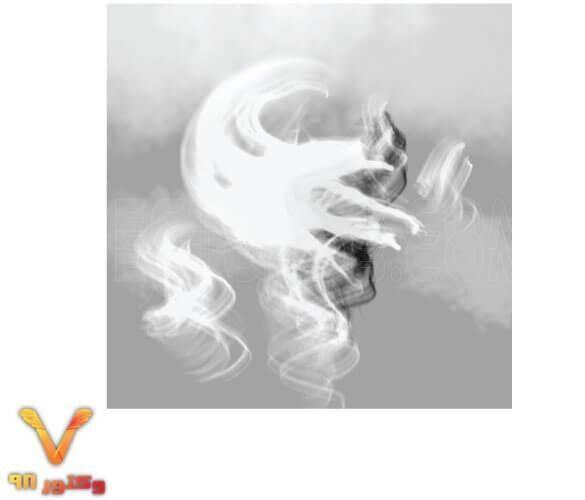 تصویر لایه باز دود سیاه و سفید در هوا