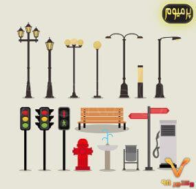خرید فایل وکتور تصویرسازی از اشیا و عناصر شهری