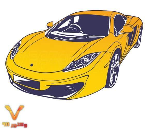 وکتور و تصویر PNG ماشین اسپرت زرد