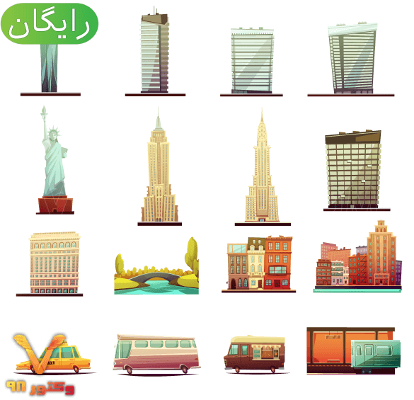 New-york-city-buildings-landmarks-tourists-attractions-and-transportation-elements