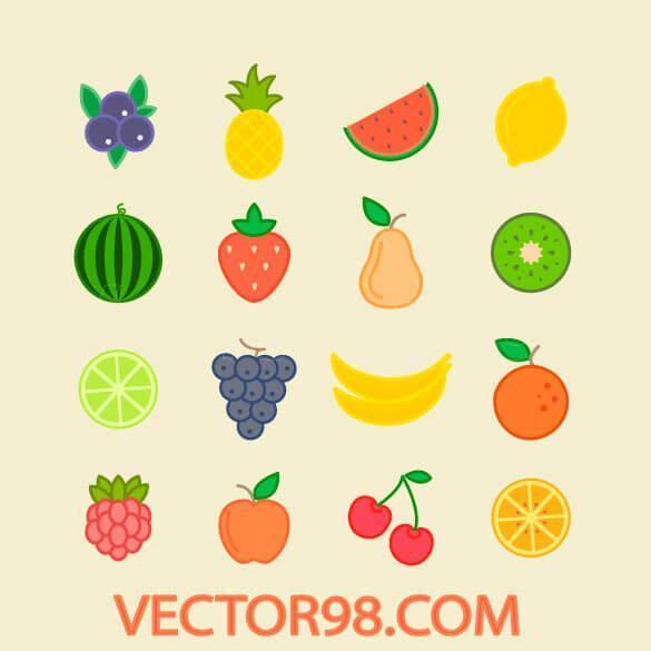 وکتور فلت میوه تابستانی