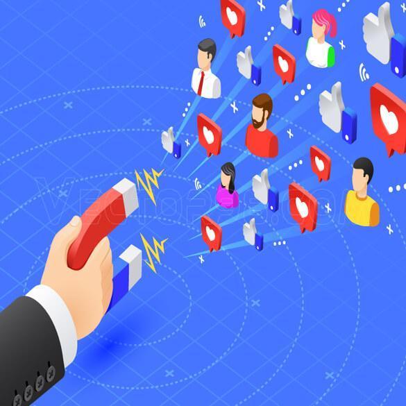 وکتور دیجیتال مارکتینگ با موضوع جذب فالور