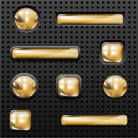وکتور دکمه طلایی شیشه ای