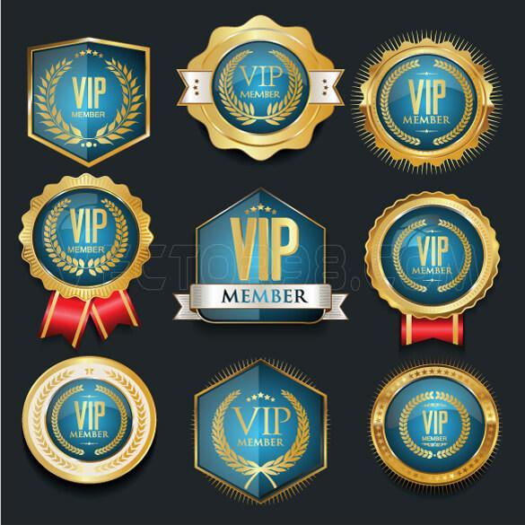 وکتور لیبل آبی VIP