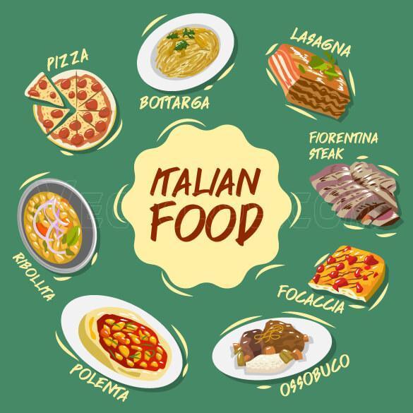 وکتور غذای ایتالیایی