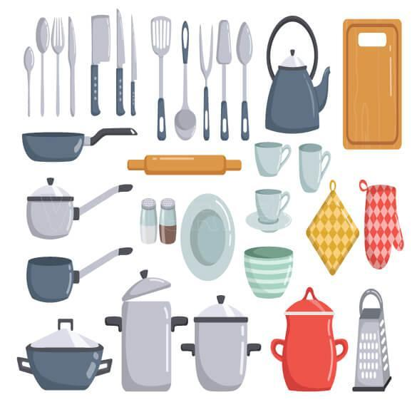 وکتور عناصر آشپزخانه